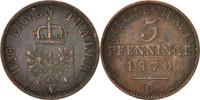 3 Pfennig 1870 C Deutsch Staaten Wilhelm I AU(50-53)  12,00 EUR  zzgl. 10,00 EUR Versand