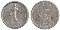 Fifth Republic (1959-2001) 1/2 Franc French Moderns Frankreich Vth Republic, ½ Franc Semeuse Nickel Piefort