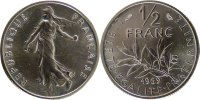 Fifth Republic (1959-2001) 1/2 Franc French Moderns Frankreich V Th Republic, ½ Franc Semeuse