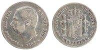 Peseta 1885 Spanien Alfonso XII EF(40-45)  190,00 EUR