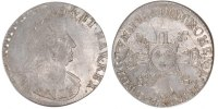 French Royal 1/2 Ecu Royal French coins Frankreich Königreichr Louis XIV, 1/2 Ecu with 8 L second type, bust with palms