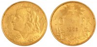 Switzerland 10 Francs 1913 Bern unz- Foreign Coins Münzen Switzerland, 1... 357.06 US$