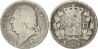 2 Francs 1824 M Frankreich Louis XVIII Louis XVIII VG(8-10)  80,00 EUR