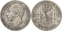 Peseta 1886 Madrid Spain Alfonso XII VF(30-35)  75,00 EUR  Excl. 10,00 EUR Verzending