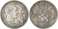 2 Francs, 2 Frank 1880 Belgium 50th Anniversary of Independence Leopold... 150,00 EUR free shipping
