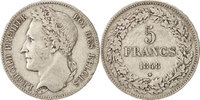 5 Francs, 5 Frank 1848 Belgien Leopold I EF(40-45)  120,00 EUR  zzgl. 10,00 EUR Versand