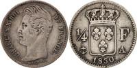 1/4 Franc 1830 A Frankreich Charles X EF(40-45)  70,00 EUR  Excl. 10,00 EUR Verzending