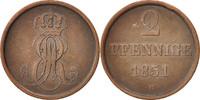 2 Pfennig 1851 B Deutsch Staaten Ernst August EF(40-45)  20,00 EUR  zzgl. 10,00 EUR Versand