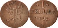 Heller 1824 F Deutsch Staaten  VF(30-35)  15,00 EUR  zzgl. 10,00 EUR Versand