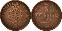 5 Pfennig 1862 Deutsch Staaten SAXONY-ALBERTINE, Johann, SS, Copper, KM... 30,00 EUR  zzgl. 10,00 EUR Versand