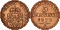 3 Pfennig 1870 A Deutsch Staaten PRUSSIA, Wilhelm I, SS+, Copper, KM:48... 15,00 EUR  zzgl. 10,00 EUR Versand
