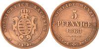 5 Pfennig 1863 Deutsch Staaten SAXONY-ALBERTINE, Johann, SS+, Copper, K... 20,00 EUR  zzgl. 10,00 EUR Versand
