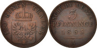 3 Pfennig 1855 A Deutsch Staaten PRUSSIA, Friedrich Wilhelm IV, SS, Cop... 15,00 EUR  zzgl. 10,00 EUR Versand
