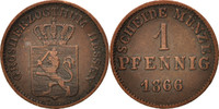 Pfennig 1866 Deutsch Staaten HESSE-DARMSTADT, Ludwig III, SS, Copper, K... 30,00 EUR  zzgl. 10,00 EUR Versand