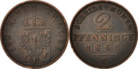 2 Pfennig 1868 C Deutsch Staaten PRUSSIA, Wilhelm I, Cleves, SS+, Coppe... 20,00 EUR  zzgl. 10,00 EUR Versand