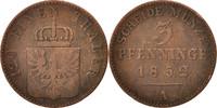 3 Pfennig 1852 A Deutsch Staaten PRUSSIA, Friedrich Wilhelm IV, Berlin,... 15,00 EUR  zzgl. 10,00 EUR Versand
