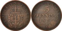 3 Pfennig 1867 A Deutsch Staaten PRUSSIA, Wilhelm I, Berlin, SS+, Coppe... 20,00 EUR  zzgl. 10,00 EUR Versand