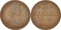 3 Pfennig, Dreier 1759 Deutsch Staaten Johann Friedrich Karl AU(50-53)  80,00 EUR  zzgl. 10,00 EUR Versand