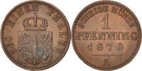 Pfennig 1870 A Deutsch Staaten Wilhelm I AU(55-58)  20,00 EUR  zzgl. 10,00 EUR Versand