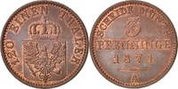 3 Pfennig 1871 A Deutsch Staaten PRUSSIA, Wilhelm I, UNZ+, Copper, KM:4... 80,00 EUR  zzgl. 10,00 EUR Versand