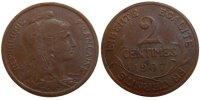 2 Centimes 1907 Paris Frankreich Dupuis AU(55-58)  230,00 EUR