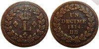 Decime 1814 Strasbourg Frankreich Louis XVIII VF(30-35)  90,00 EUR
