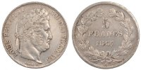 5 Francs 1837 W France Louis-Philippe AU(55-58)  220,00 EUR free shipping