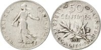 50 Centimes 1911 France Semeuse AU(50-53)  140,00 EUR  +  10,00 EUR shipping