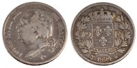 2 Francs 1824 W France FRANCE, Louis XVIII, Lille, KM #710.12, Silver,.... 200,00 EUR free shipping
