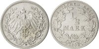 1/2 Mark 1908 D GERMANY - EMPIRE  EF(40-45)  69.48 US$ 65,00 EUR  +  10.69 US$ shipping