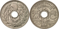 25 Centimes 1917 France Lindauer,Copper-nickel,KM:867a,Gadoury 380 STGL  90,00 EUR  Excl. 10,00 EUR Verzending