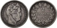 Semi Moderns (1805-1899) 2 Francs French Moderns Frankreich Louis Philippe, 2 Francs, 1847 A Paris