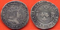 FRANCOIS 1er  FRANCOIS 1er 1515-1547 DEMI-TESTON A/ FRANCISCVS DEI GRA FRANCORVM REX BUSTE A DROITE DU ROI, CUIRASSE; PORTANT UNE COURONNE FER