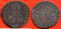 HENRI II  HENRI II 1547-1559 TESTON 2e TYPE A/ HENRICVS II D G FRANCOR REX BUSTE A DROITE DU ROI, CUIRASSE , LA TETE NUE R/ XPS ECT ECU DE