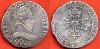 HENRI III  HENRI III 1574-1589 DEMI-FRANC EN ARGENT A/ LEGENDE AVERS COMMENCANT PAR HENRICVS III  BUSTE A DROITE DU ROI, LAURE ET CUIRASSE 