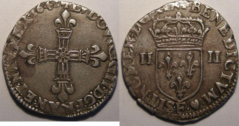 1610-1643 LOUIS XIII (1610-1643) Monnaie royale, Louis XIII, 1/4 d'Ecu à la croix fleurdelisée