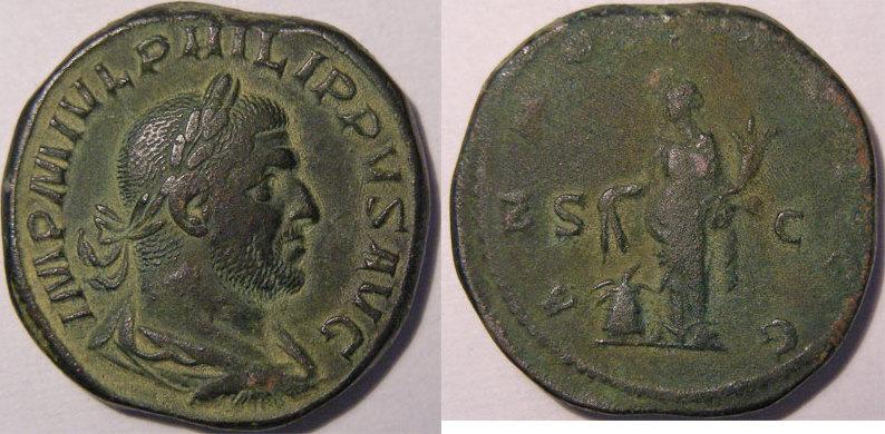 244-249 n. Chr. PHILIPPE I (244-249) Monnaie romaine, empereur, Philippe I, sesterce, R/ ANNONA AVGG SC