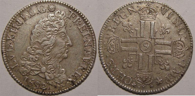 1692 LOUIS XIV (1643-1715) Monnaie royale, Louis XIV, 1/4 d'écu aux 8 L, 1692 9 Rennes