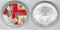 USA 1 Dollar Silver Eagle mit Farbaplikation, Papst Johannes Paul II.
