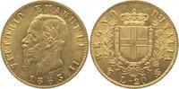 20 Lire - GOLD- 1863  T Italien-Königreich Vittorio Emanuele II. 1861-1... 300,00 EUR  +  10,00 EUR shipping