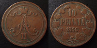 1866 Finlande, Finland Finlande, Finland, 10 pennia 1866, KM.5.1 TB à ... 18,50 EUR  zzgl. 6,00 EUR Versand