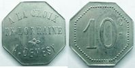 Remiremont  Remiremont, A.DEMESY,  la croix de Lorraine, 10 centimes, E.manque Zn/Ni TTB+