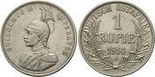 1 Rupie 1914 J Deutsch Ostafrika, Wilhelm II., 1888-1918, f.vz