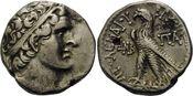AR Tetradrachme 119/118 v.Chr., Ägypten, Ptolemaios VIII., 164-116 v. Chr., Gegenstempel, ss