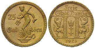 Danzig, 25 Gulden 1923 vz-st Freie Stadt, ...