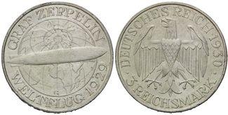3 Mark 1903 G, Weimarer Republik, Zeppelin, f.st