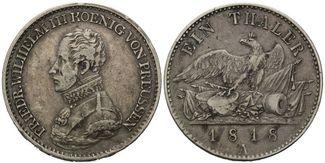 Taler 1818 A, Preussen, Friedrich Wilhelm III., 1797-1840, ss-vz