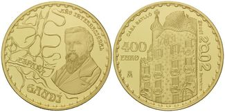 Spanien, 400 Euro 2002 PP, Etui Antoni Gau...