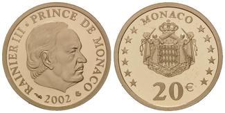 20 Euro 2002 Monaco, Fürst Rainier III., PP, Etui, Zertifikat, Pappschuber