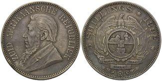 5 Schilling 1892, Südafrika, Zuid Afrikaansche Republiek, 1852-1910, selten, f.vz
